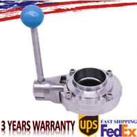 """2"""" Inch Sanitary Stainless Steel 304 Pull Handle Tri Clamp Butterfly Valve New"""