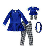 Girl 4-14 and Doll Matching Blue Drop Waist Dress Legging Outfit American Girl