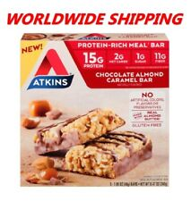 Atkins Chocolate Almond Caramel Protein Rich Meal Bar 8.47 Oz 5 Ct WORLD SHIP