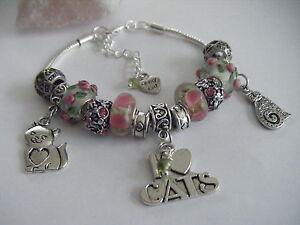 PINK 'Love My Cats' Hearts Roses Charm Bracelet Cat Soft Kitty Crazy Cat Lady!!