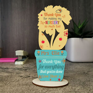 Personalised Thank you Gift for Nursery Teacher Leaving Pre School Flower 2021