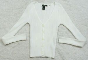 Forever 21 White Girls Cardigan Solid Sweater Long Sleeve Small V-Neck Cotton