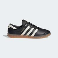 adidas Mens Originals Hamburg Shoes Premium Leather Black Trainers
