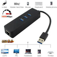3 Ports USB3.0 Gigabit Ethernet Lan RJ45 Network Adapter Hub to 1000Mbps Mac CS