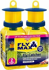 More details for zero in fly max fly catcher trap twin pack with bait ready to use stv336