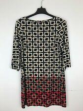 Eliza J Women Size 12 Geometric Print Shift Dress Jersey Stretch E