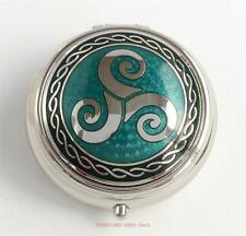 Celtic Triskele Triskelion round Pill Box green enamels Sea Gems Silver Plate
