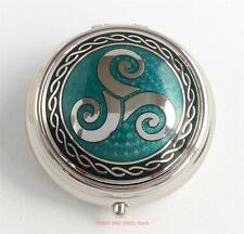 Celtic Triskele Triskelion round Pill Box green enamels Sea Gems Silver Plate
