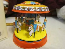 Vintage Red China Shanghai Merry-Go-Round Wind-up Tin Toy MS271