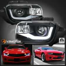 Black 2010-2013 Chevy Camaro LED Tube DRL Projector Headlights Left+Right