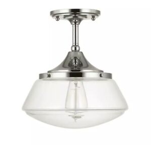 Home Decorators Collection 10 in. 1-Light Polished Nickel Vintage Schoolhouse