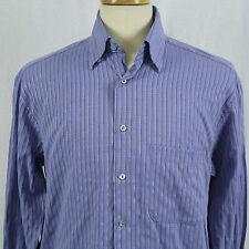 Bugatchi UOMO Blue Striped Button-Front Long Sleeve Men Dress Shirt Sz M EUC