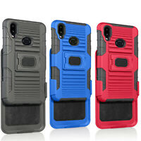 For Samsung Galaxy A10S Holster Belt Clip Case Hybrid Defender with Temper Glass