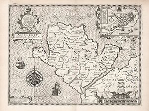 Old Vintage Anglesey Wales decorative map Speed ca. 1676 paper or canvas