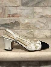 NIB Chanel 17C White Black Lace Cap CC Coco Sling Back Ankle Strap Heel Pump 36