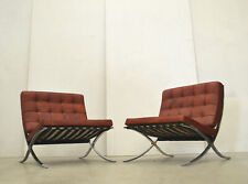 2x VINTAGE Mies v. d. Rohe BARCELONA Chair LEDER Rot Cognac KNOLL Sessel