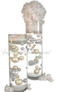 120 Floating Ivory & White Pearls w/ Gems-No Hole Jumbo/Assorted Sizes