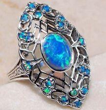 Belle Bague Art Déco filigrane en argent massif 925, Opale de Feu Bleu