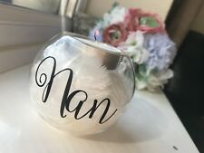 Personalised Feather Filled Glass Tea Light Holder Memorial Gift