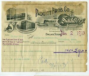 WESTERN – BILLHEAD PADGITT BROS CO SADDLERY  – DALLAS TEXAS  1913