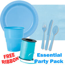 Light Blue Essential Party Pack Plates Cups Cutlery Ribbon - FREE DELIVERY