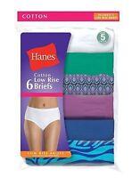 6 Pack Hanes Women's No Ride Up Low Rise Cotton Panties Briefs Size 5 - 9 Best