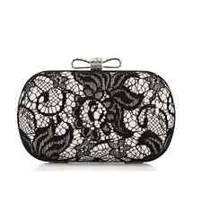 Elegant Floral Lace  Clutch Evening Bag (silver + black)
