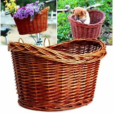 AU Trendy Style Brown Wicker Bicycle Bike Front Basket With Straps AUFT