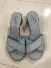 NEW Coach Slide Block Heel Sandals WOMENS 7 Light Blue
