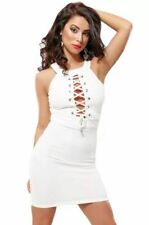 Womens Sexy White Mini Dress Lace Up Halterneck Sleeveless Pencil Skirt UK Size