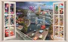 Disney Pixar Cars McQueen Mater 3D Window Kids Removable Wall Art Sticker Mural