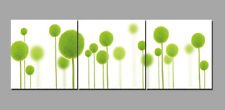 Abstract Wall Decor Oil Painting on Canvas Green Ball Flowers Unframed 3pc SL258