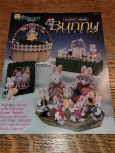 Plastic Canvas Needlepoint Craft Pattern Book Spring Easter Bunny Family Parade