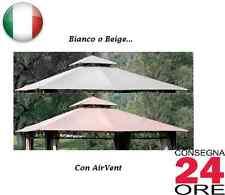 Telo copertura top di ricambio per gazebo giardino 3x3 bianco o beige scuro EDEN