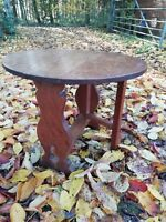 Vintage Small Solid Oak Drop Leaf Coffee Table Pegged Fiddle Design Circa 1940