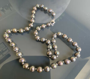 Vintage Real Pearl Silver Ball Necklace