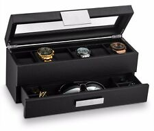 Large 6 Slot Watch Box for Men - Valet Jewelry Drawer Display Case Holder -Black