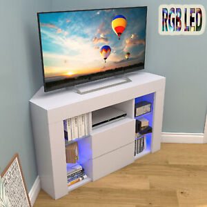 RGB LED Corner TV Unit Stand Cabinet Light Modern White High Gloss Doors & Matt