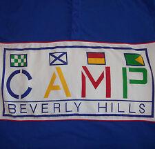 Vintage Camp Beverly Hills T-Shirt Men's Medium Button Collar Blue