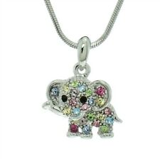 ELEPHANT MADE WITH SWAROVSKI CRYSTAL MULTI COLOR PENDANT NECKLACE GIFT