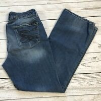 Seven7 Womens SZ 12 Bootcut Embellished Distressed Mid-Rise Whiskered Blue Jeans