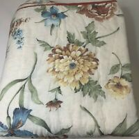 vintage bedspread coverlet sears queen cream yellow blue floral reversible