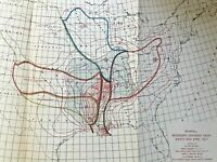 c.1927 ANTIQUE ORIGINAL MAP RAINFALL MISSISSIPPI DRAINAGE BASIN 8.5 X 13 INCHES