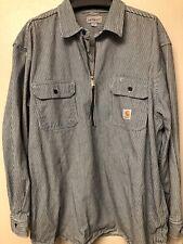 Carhartt Jacket Shirt 2XL Navy Gray Stripe Cotton ½ Zip Pocket Original Fit