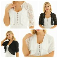 Womens Ladies Bolero Lace Shrug Shawl Cardigan Cropped Bridal Party Top Jacket