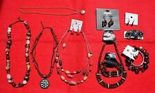 Costume Jewelry Lot 12 Pieces 4 Necklaces 2 Bracelets 4 Sets Earrings 1 Barrette