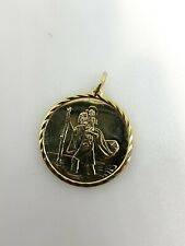 Gold St Christopher Pendant Solid 9ct Yellow Gold Saint Christopher Pendant