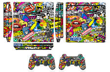Skin Sticker Cover for PS3 PlayStation 3 Slim & 2 controller skins Bombing N262Q
