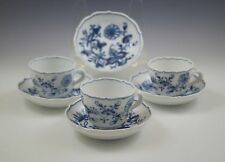 c.1920's MEISSEN STATE PORCELAIN BLUE ONION SET OF 3 CHOCOLATE CUPS AND SAUCERS
