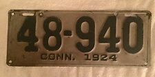 Good Solid 1924 Connecticut License Plate. FREE SHIPPING